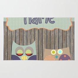 Woden Art Print Owls Customize your Name infant baby children toddler room interior design Rug