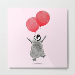 Flying Baby Penguin in Pink Metal Print