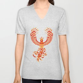 Mythical Phoenix Bird Unisex V-Neck