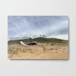 Beached Catamaran Metal Print