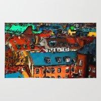 copenhagen Area & Throw Rugs featuring Copenhagen Rooftops by E.M. Shafer