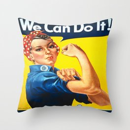 Vintage poster - Rosie the Riveter Throw Pillow