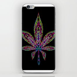 Neon Cannabis Leaf iPhone Skin