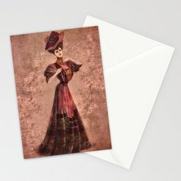 Woman in red Edwardian Era in Fashion Stationery Cards