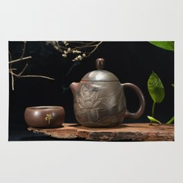 Japanese Teapot with Lotus Blossom Flower Rug