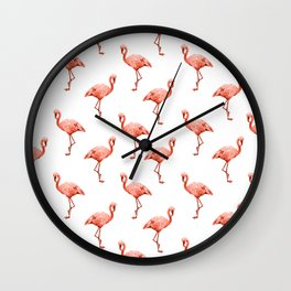 Simply Pink Flamingo in Deep Coral on White Wall Clock
