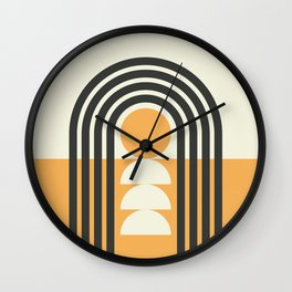 Geometric Lines in Gold and Black (Rainbow and Sunrise Abstract) Wall Clock