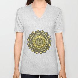 Flower Mandala Grey & Yellow Unisex V-Neck