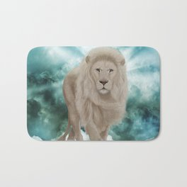 Awesome white lion in the sky Bath Mat