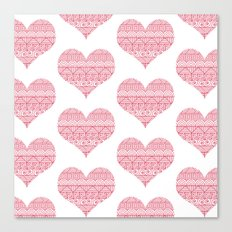 Patterned Hearts Pattern Canvas Print