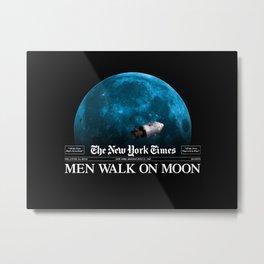 Men Walk On Moon Metal Print