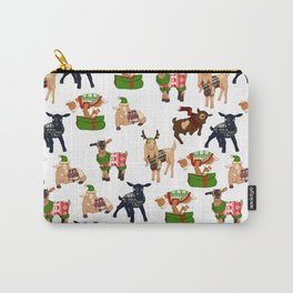 Christmas goats in sweaters repeating seamless pattern Carry-All Pouch