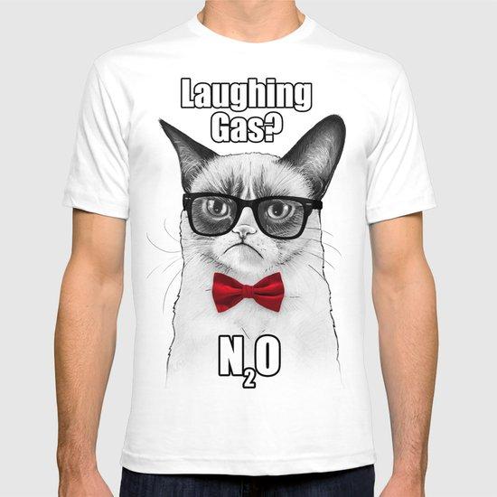 Grumpy Chemistry Cat Geek Science Meme Whimsical Animals in Glasses T-shirt