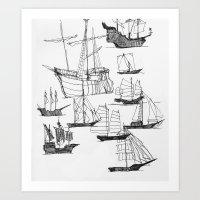ships Art Prints featuring Ships by Rachel Wann