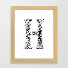 Floral Pen and Ink Letter H Framed Art Print