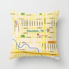 Map of Houston TX #1 Throw Pillow
