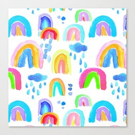 Stormy Rainbows in White Canvas Print