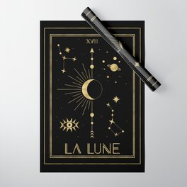 The Moon or La Lune Gold Edition Wrapping Paper