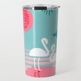 Chill Vibes - memphis retro throwback 1980s 80s neon pop art flamingo paradise socal vacation Travel Mug