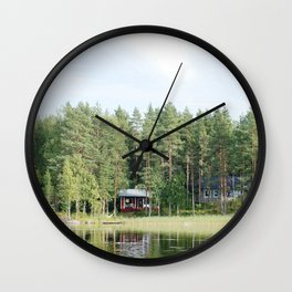 Cabin by the lake in Finland Wall Clock