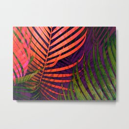 COLORFUL TROPICAL LEAVES no5 Metal Print