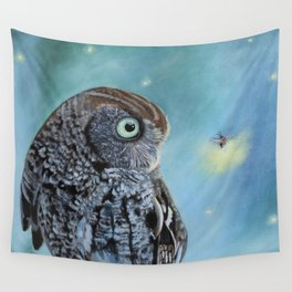 Owl and Lightning Bugs Wall Tapestry