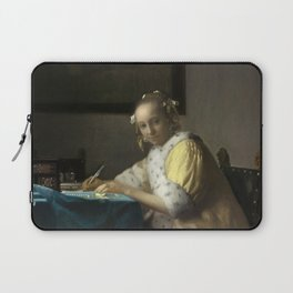 A Lady Writing Oil Painting by Johannes Vermeer Laptop Sleeve