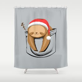 Sloth in a Pocket Xmas Shower Curtain