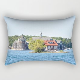 One Island with a small house in Thousand Islands Region in summer in Kingston, Ontario, Canada Rectangular Pillow