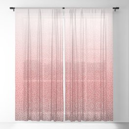 Faded red and white swirls doodles Sheer Curtain