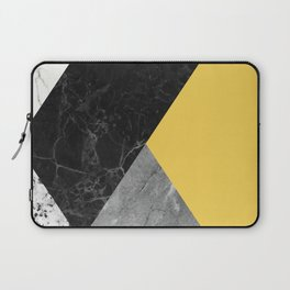Black and White Marbles and Pantone Primrose Yellow Color Laptop Sleeve