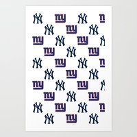 yankees Art Prints featuring NY Yankees and Giants  by Shaina