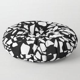 Terrazzo White on Black Floor Pillow