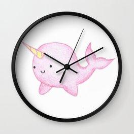 Cute Pink Narwhal Wall Clock