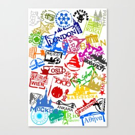 World City Passport Stamps Canvas Print