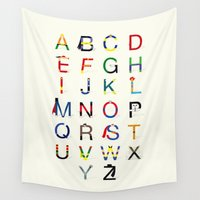 superheroes Wall Tapestries featuring ABC SH by Fabian Gonzalez
