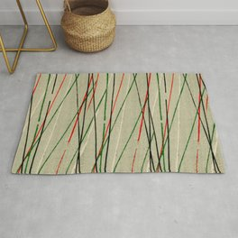 Green Red Black Diagonal Stripes Japanese Shima-Shima Pattern Rug