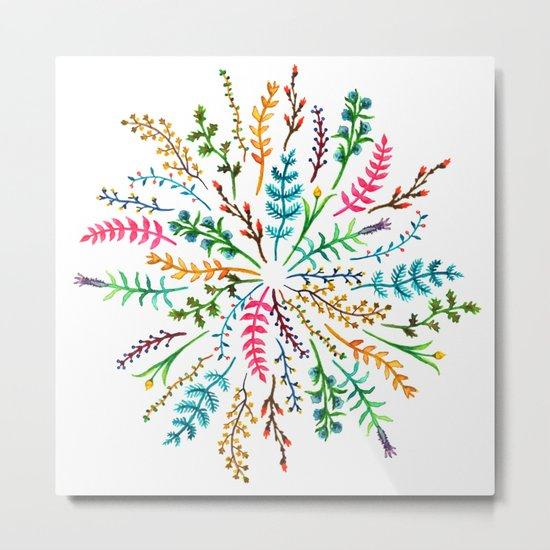 Radial Foliage Metal Print
