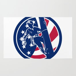 American Lineworker USA Flag Icon Rug