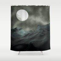 noir Shower Curtains featuring Ocean Noir by Rabassa