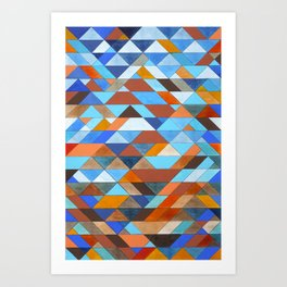 Triangle Pattern no.18 blue and orange Art Print