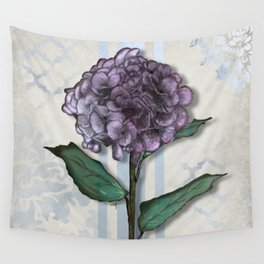 Hydrangea Damask and Quartrefoil Mixed Media Wall Tapestry
