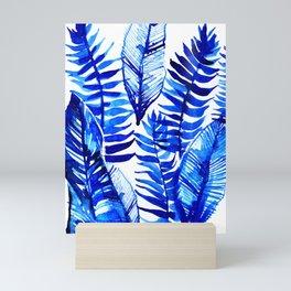 Jungle Leaves & Ferns in Blue Mini Art Print