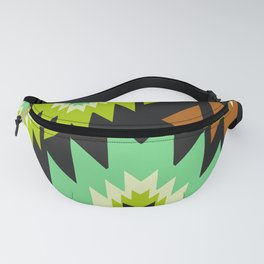 Ethnic shapes in green and brown Fanny Pack