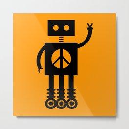 Peace Bot (Orange) Metal Print