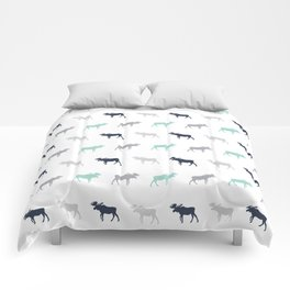 Moose pattern minimal nursery basic grey and white camping cabin chalet decor Comforters