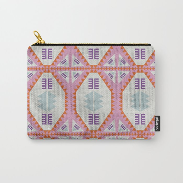Pink Geometric Quilt Carry-All Pouch
