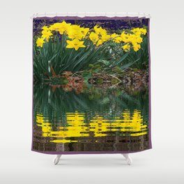 PUCE & YELLOW DAFFODILS WATER REFLECTION PATTERN Shower Curtain