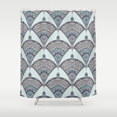 Deco Doodle in Aqua, Cream & Navy Blue Shower Curtain