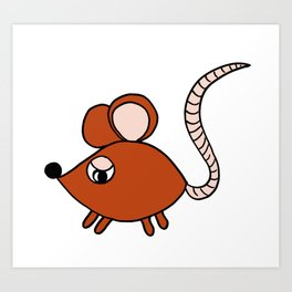 Drawn by hand a Friendly little mouse for children and adults Art Print